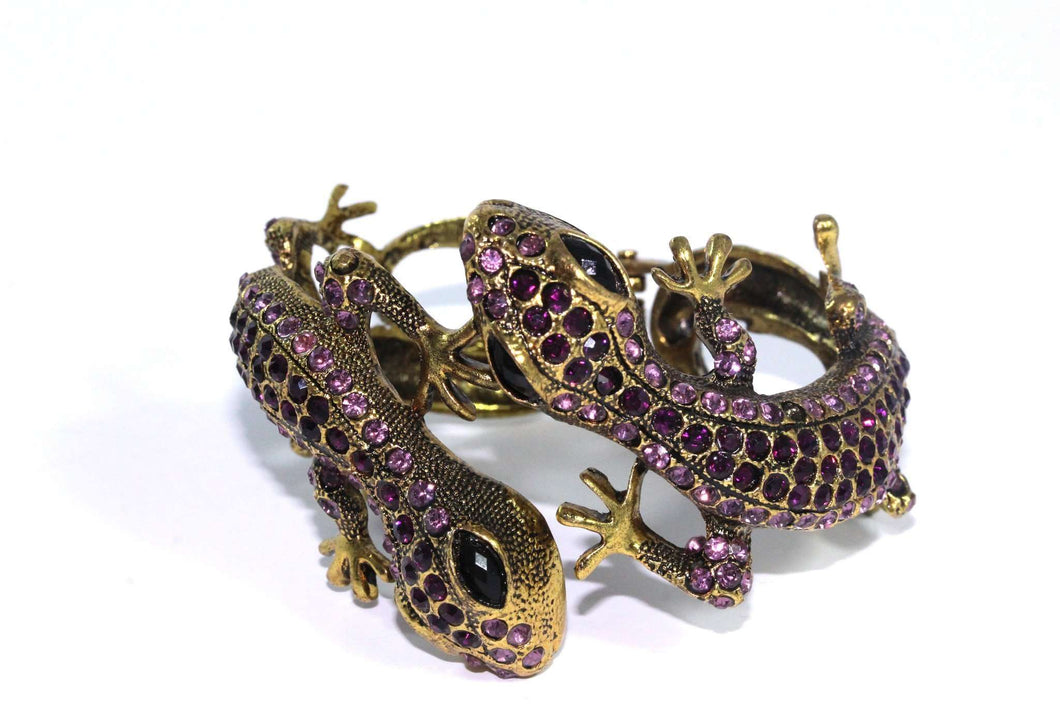 Purple Sparkling Salamander Hinged Bangle