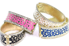 Load image into Gallery viewer, Leopard Design Hinged Cuff Bangles | Wild Lotus