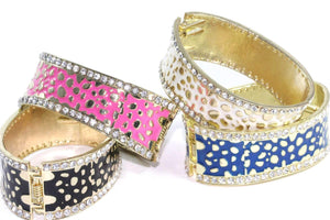 Leopard Design Hinged Cuff Bangles | Wild Lotus