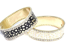 Load image into Gallery viewer, Black & White Leopard Design Hinged Cuff Bangles