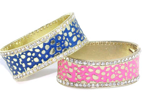 Blue & Pink Leopard Design Hinged Cuff Bangles