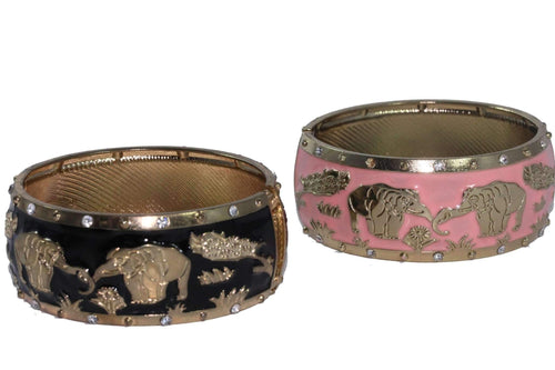 Light Pink & Black Grazing Elephants Cuff Bangle