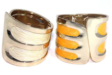 Load image into Gallery viewer, Pearly White & Marigold Twinkling Enamel Hinged Bangles | Wild Lotus