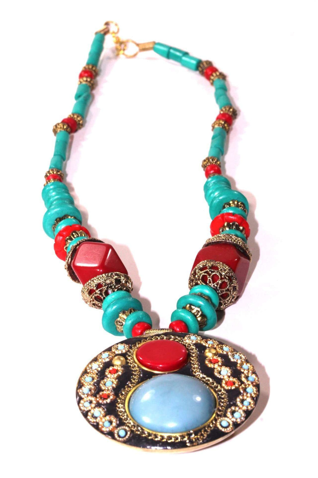 Multi Color Turquoise & Red Coral Medallion Necklace