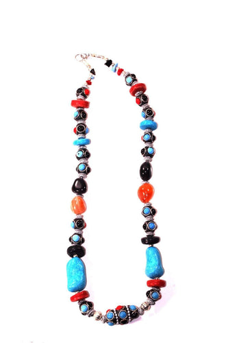 Eastern Flare Resin Beads & Charms Necklace