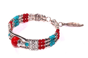 Red & Blue Feather Charm And Beads Bracelet