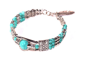 Sea Blue Feather Charm And Beads Bracelet