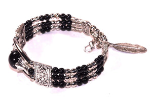 Black Feather Charm And Beads Bracelet
