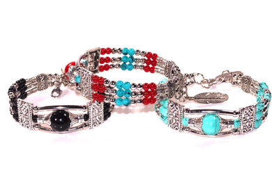 Feather Charm And Beads Bracelets