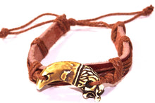 Load image into Gallery viewer, Brown Dragon Tooth Leather Bracelet