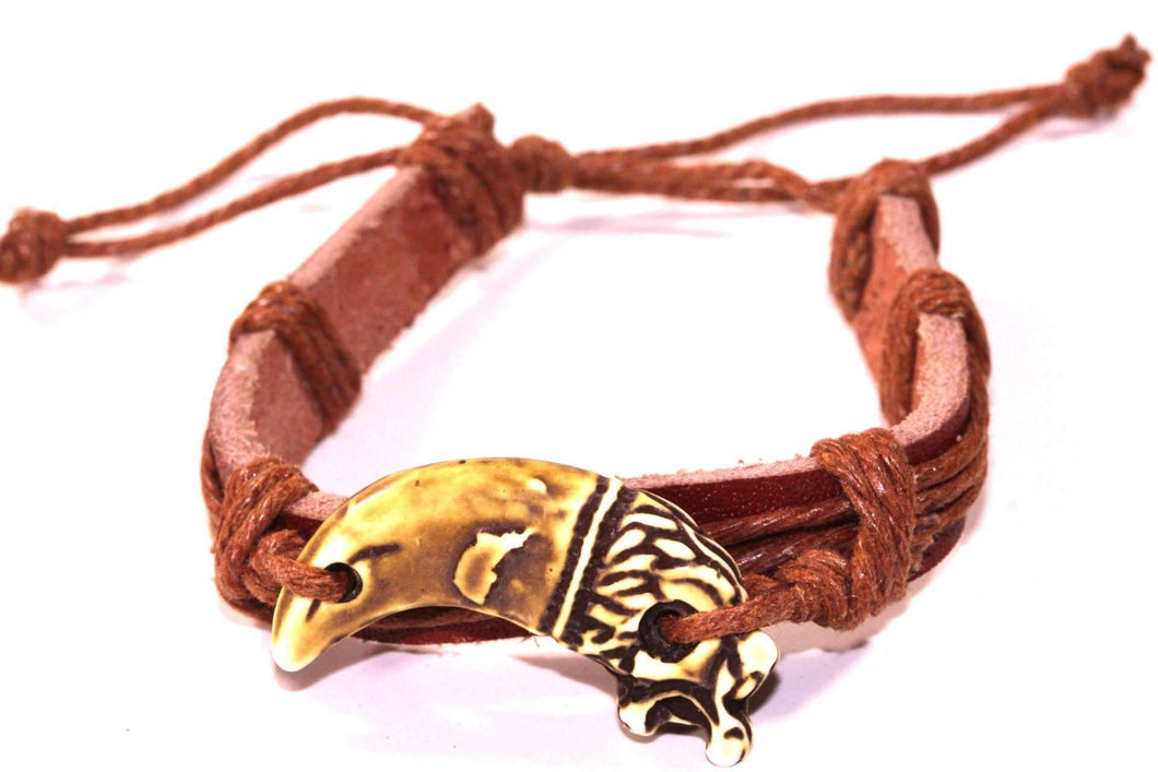 Brown Dragon Tooth Leather Bracelet