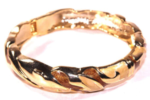 Sparkly Brown & Gold Tone Shimmering Enamel Hinged Bangle