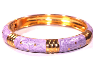 Swirly Lavender & Gold Tone Shimmering Enamel Hinged Bangle