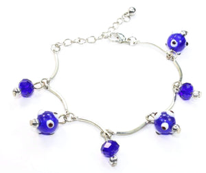 Evil Eye Beads & Blue Crystal Bracelet by Wild Lotus