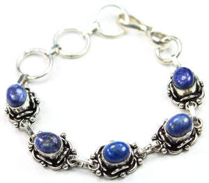 Blue & White Raw Agate Bracelet