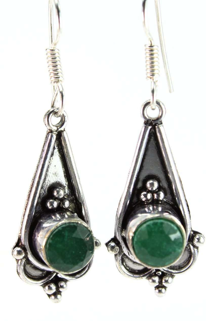Sparkling Green Cabochon Earrings