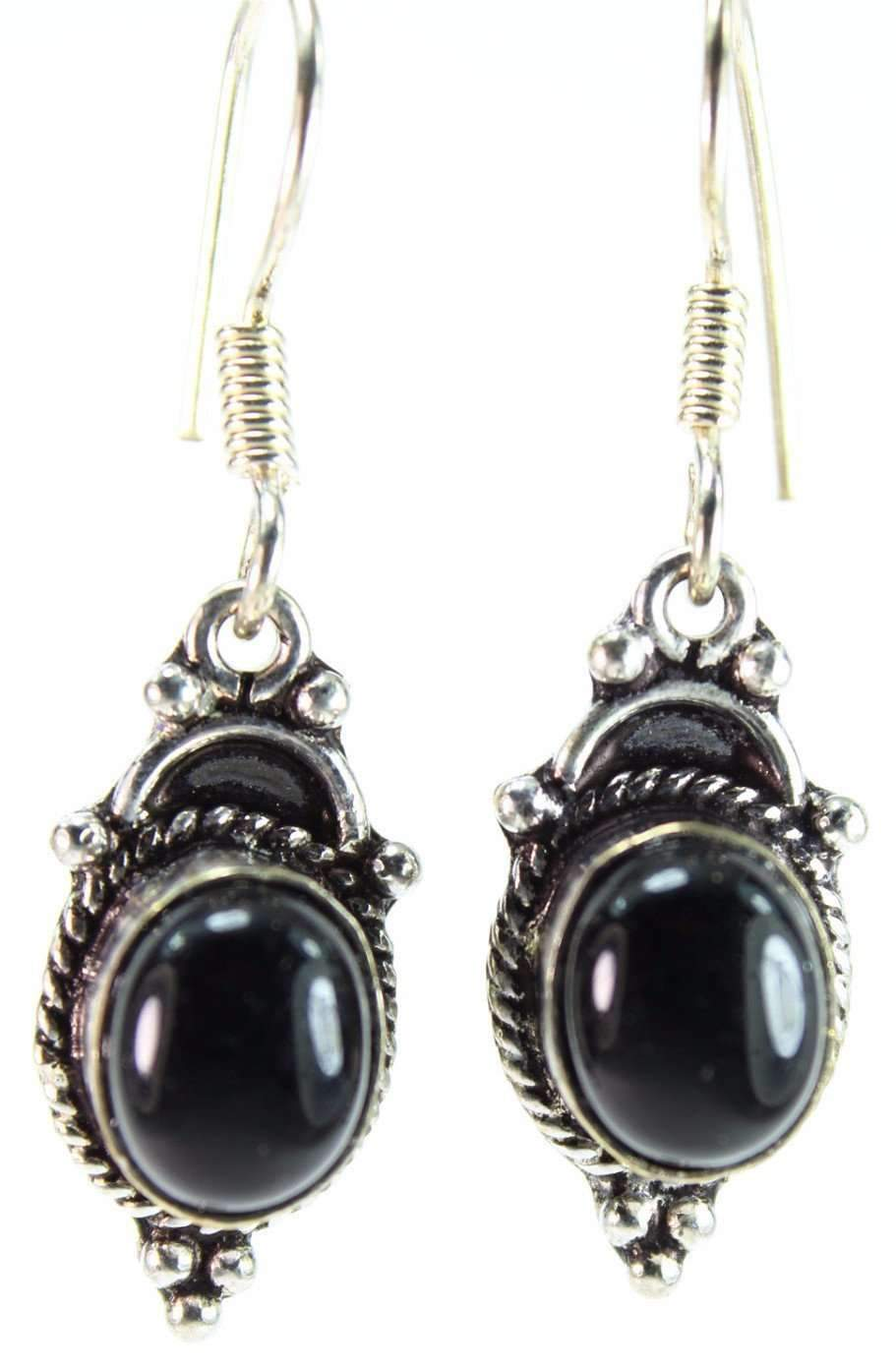 Glowing Black Agate Drop Earrings