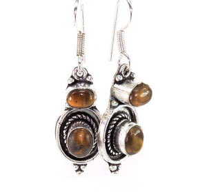 Tigers Eye Oval Stone Earrings