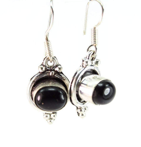 Black Agate Oval Stone Earrings