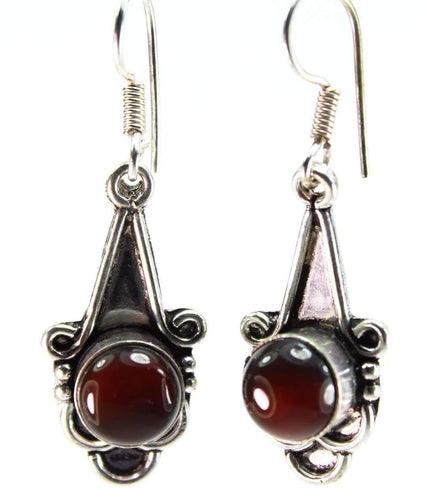 Dark Burgundy Agate Drop Earrings