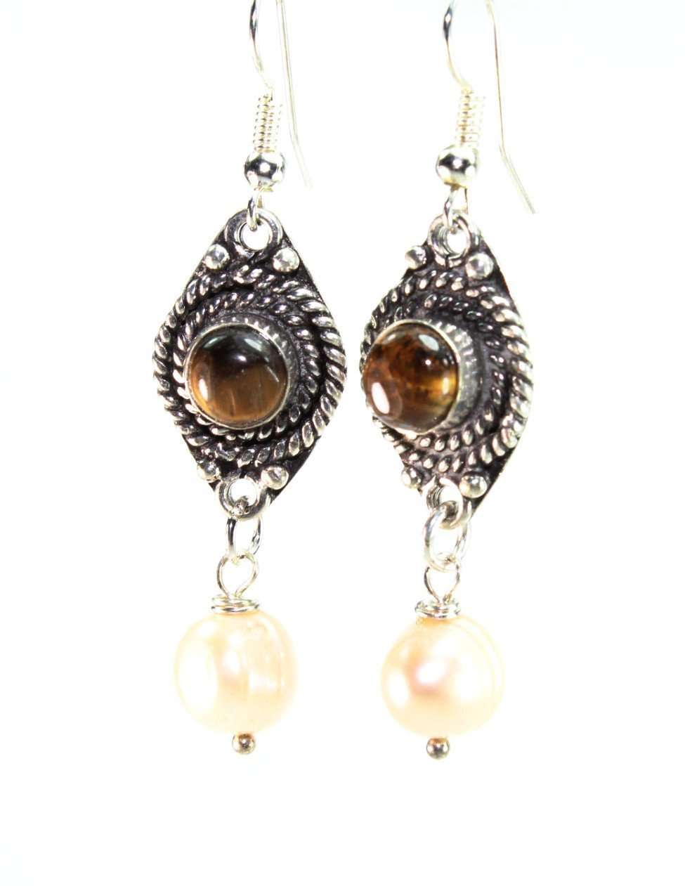 Tigers Eye Stone & Pearl Drop Earrings