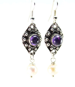 Purple & Pearly Elegant Earring Duo
