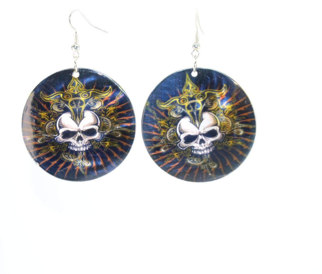 Lustrous Skull Art Mother Of Pearl Earrings