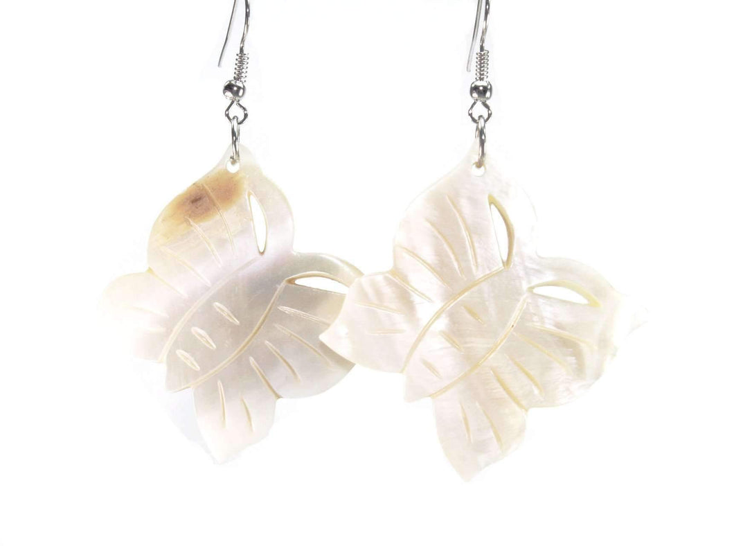 White Mother of Pearl Carved Butterfly Earrings