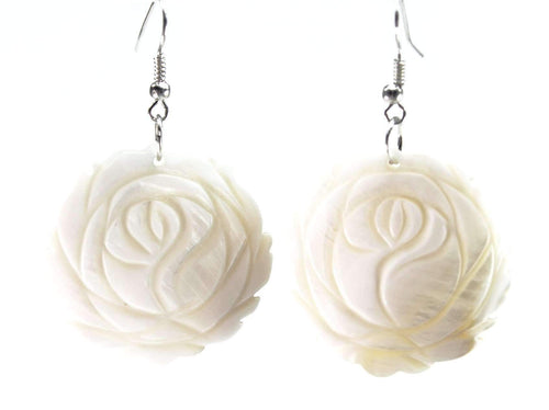 White Mother of Pearl Carved Rose Earrings
