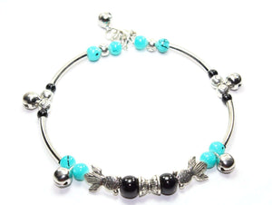 Somethings a Little Fishy Charm Black & Turquoise Bracelet