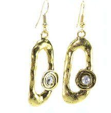 Load image into Gallery viewer, Antique Gold Hammered Oval Earrings
