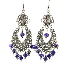 Load image into Gallery viewer, Blue Breezy Skies Scroll Work Style Earrings