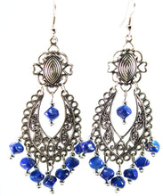 Load image into Gallery viewer, Caribbean Blue Breezy Skies Scroll Work Style Earrings