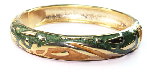Shimmery Forest Green & Golden Hinged Bangle