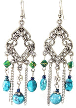 Load image into Gallery viewer, Blue Filigree Open Work & Marbled Beaded Earrings