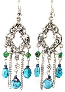 Blue Filigree Open Work & Marbled Beaded Earrings