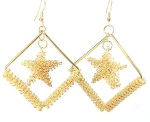 Cradled Star Earrings