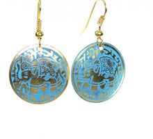 Load image into Gallery viewer, Silver Tone Turquoise Petite Carnival Elephant Danglers | Wild Lotus