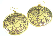 Load image into Gallery viewer, Brown on Gold Tone Traveling Elephant Earrings