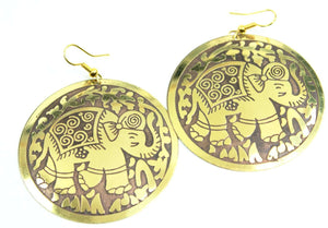 Brown on Gold Tone Traveling Elephant Earrings
