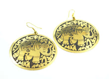 Load image into Gallery viewer, Black on Gold Tone Traveling Elephant Earrings