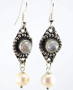 Grey Quartz & Pearls Drop Earrings