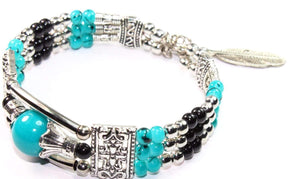 Turquoise & Black Feather Charm And Beads Bracelet