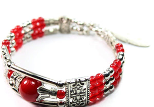 Red Feather Charm And Beads Bracelet