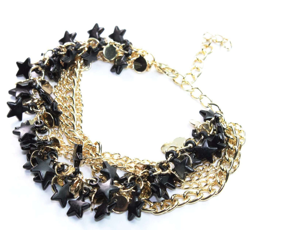 Black Three Tier Star Charm Bracelet
