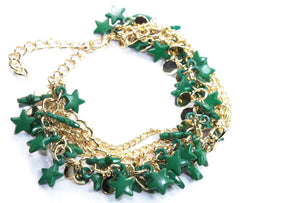 Green Three Tier Star Charm Bracelet