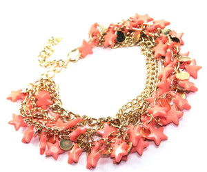 Light Coral Three Tier Star Charm Bracelet