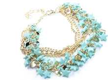 Load image into Gallery viewer, Turquoise Three Tier Star Charm Bracelet