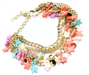 Multi Color Three Tier Star Charm Bracelet