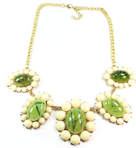 Full Bloom Green Flower Statement Necklace